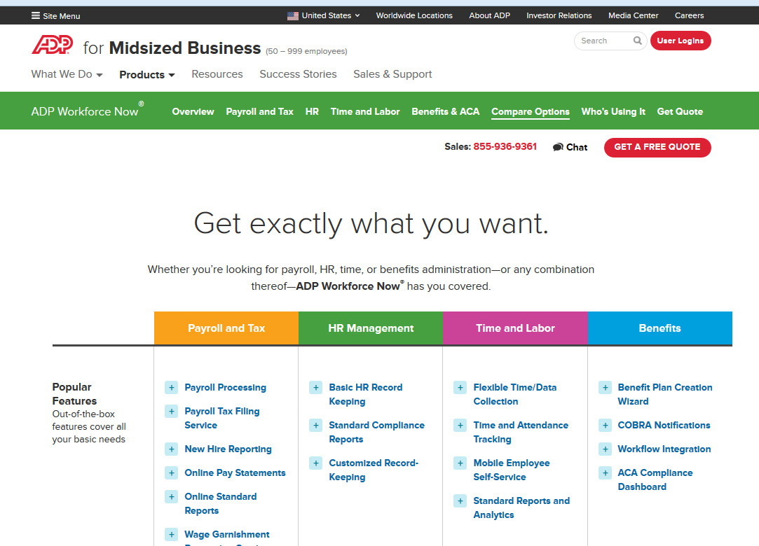 ADP Workforce Now Compare Options Page