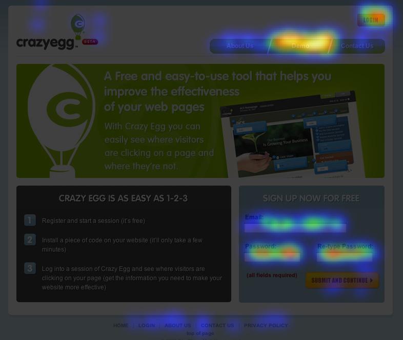 Crazy Egg Heat map screenshot