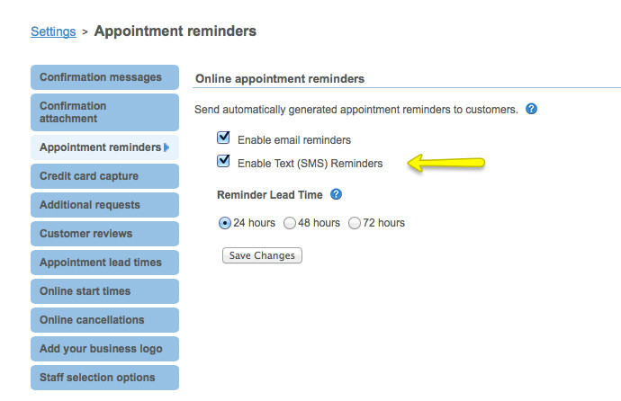 Genbook Appointment Reminder Options