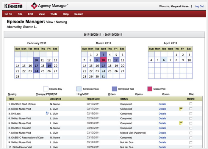 Kinnser Agency Manager Episode Screen