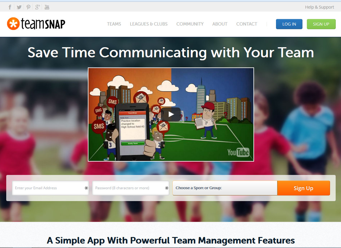 TeamSnap Home Page