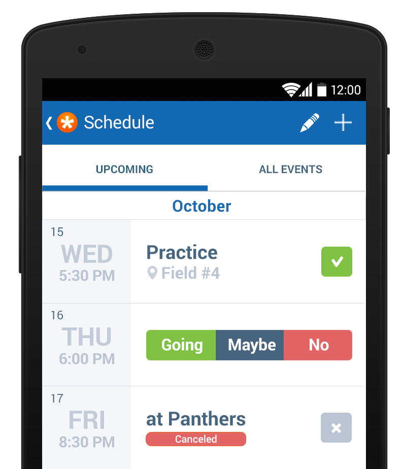 TeamSnap Schedule on Android