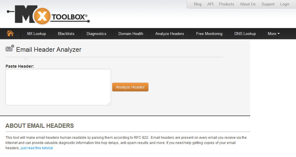 MxToolbox Email Header Analyzer