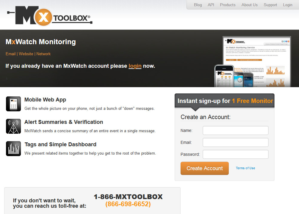 MxToolbox Monitoring Signup