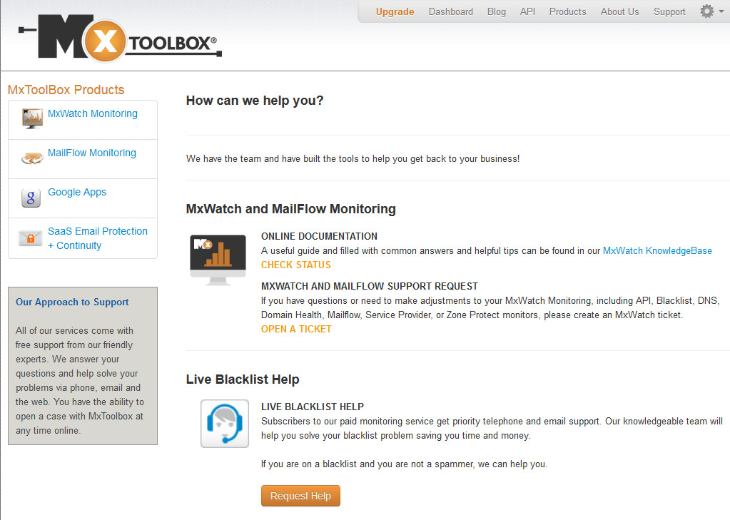 MxToolbox Support Page